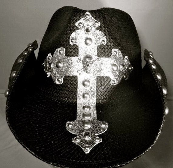 Vintage Hat Tattoos: Handmade Custom Cowboy Hat With Skull And Crossbones