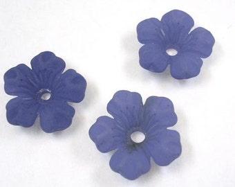 Navy Blue Lucite Dogwood Flower beads    (4006)