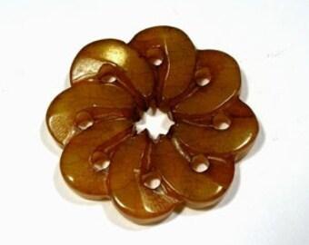 Brown Serpentine 7 Petal Flower Bead      (7056)