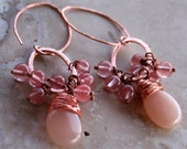 Holiday Sale Earthy Romantic Elegant Peach Pink Smooth Jade Briolettes Dangle Clusters Cherry Quartz Copper Wire Wrapped Earrings