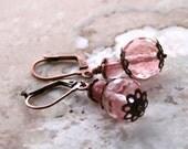 Romantic Elegant Earrings / Earthy Rustic  Earrings / Boho Gypsy Earrings / Cherry Quartz Earrings / Pink Earrings