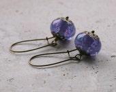 Purple Earrings / Lampwork Beads / Dangle Earrings / Boho Gypsy Earrings / Lavender Earrings