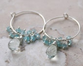 Romantic Elegant Light Green Amethyst Apatite Sterling Silver Wire Wrapped Hoop Dangle Earrings
