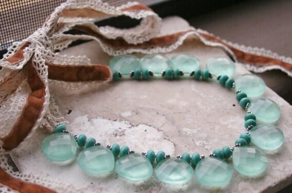 Elegant Romantic Necklace / Aqua Chalcedony Necklace / Velvet Lace Necklace / Turquoise Necklace