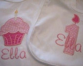 Personalized First Birthday Cupcake Shirt and Number One Birthday Candle Bib Set (Ella)