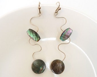 Silver Wire Mother of Pearl Bead Earrings