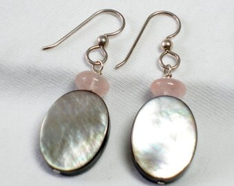 Rose Quartz with Mother of Pearl Beaded Earrings