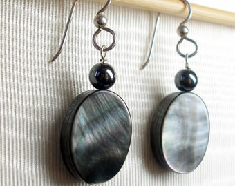Mother of Pearl and Hematite Earrings