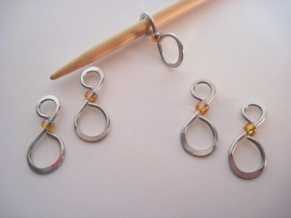 Set of 5 Stitch Markers - Yellow Iridescent Bead
