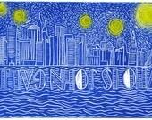 Who Is John Galt Linocut Signed ORIGINAL ARTWORK Inspired By Atlas Shrugged