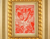 FRAMED Spring Tulip Linocut Hand Pulled Print Signed ORIGINAL (Ready To Ship)