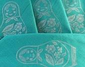 MATRYOSHKA Green Dinner Napkins HAND PRINTED (Set of 4)