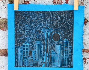 MOONRISE OVER SEATTLE Linocut Hand Pulled Oringinal Print Signed