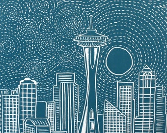 MOONRISE Over SEATTLE Linocut Hand Pulled ORIGINAL Print
