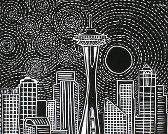 MOONRISE OVER SEATTLE Linocut Hand Pulled OriginalPrint Signed