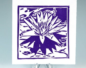 WATERLILY Linocut Hand Pulled ORIGINAL Print MINIATURE