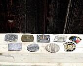 lot of 9 vintage western belt buckles