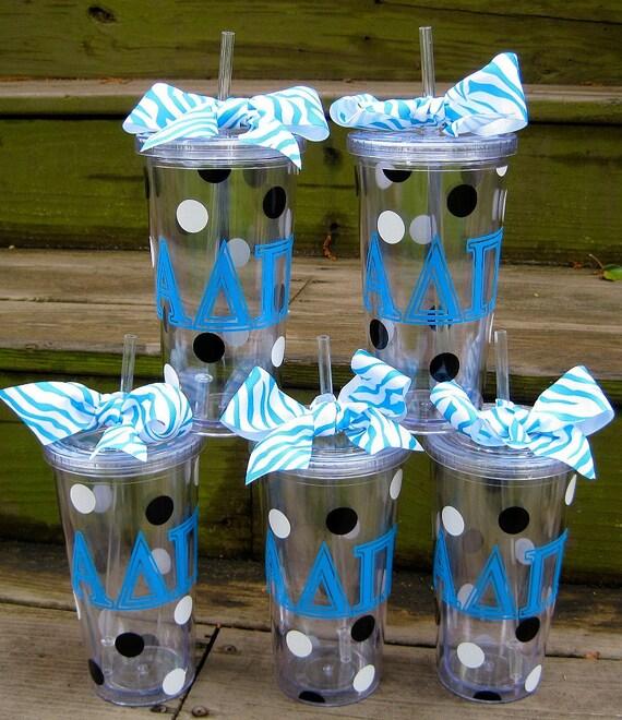 Personalized acrylic tumblers 20 oz.-Alpha Delta Pi sorority