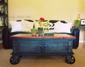 Ellis Coffee Table / Vintage Industrial Flat Panel TV Stand on Casters