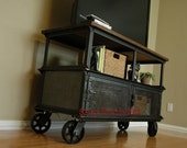 Vintage Industrial Media Console Table / Mid Century Modern TV Stand / Entertainment Center