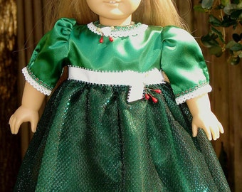 Green Christmas Dress 18 inch doll