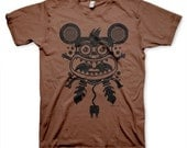Electric Mouse on Men's Crazy Funny T-shirt Available on Chestnut Brown S, M, L, XL