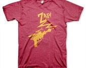 Ray Gun go Zap men's funny vintage inspired lowbrow retro heather red t-shirt in s, m, l, xl