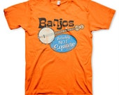 Banjos Not Square men's retro funny music orange t-shirt in s, m, l, xl