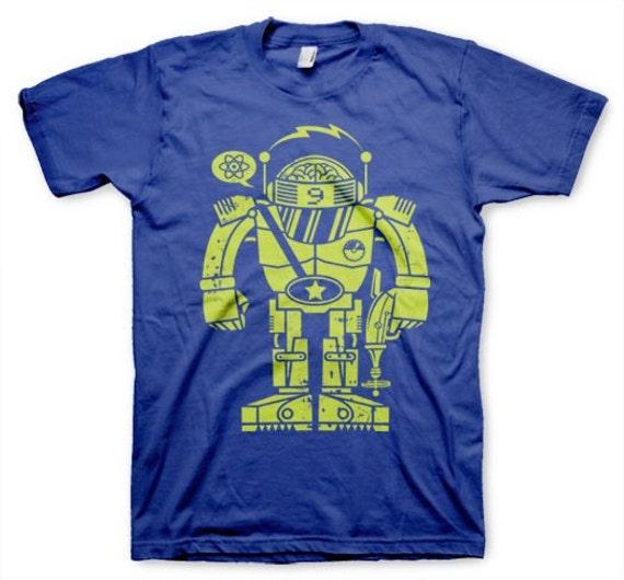 Atomic Robot Men's T-shirt Funny Novelty nerd Royal Blue in S, M, L, XL
