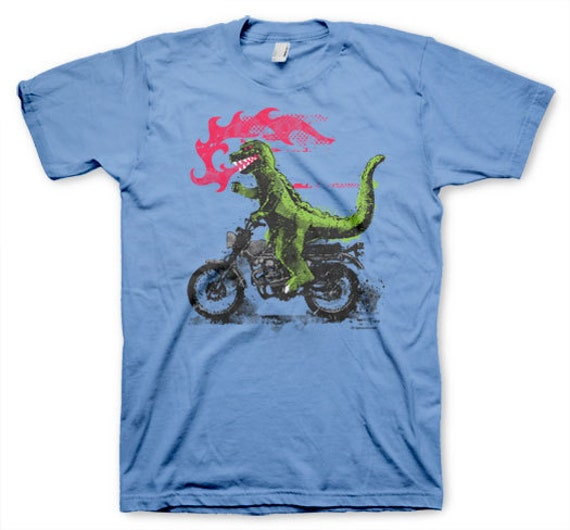Godzilla Motorcycle men's funny crazy vintage inspired retro novelty blue t-shirt in s, m, l, xl