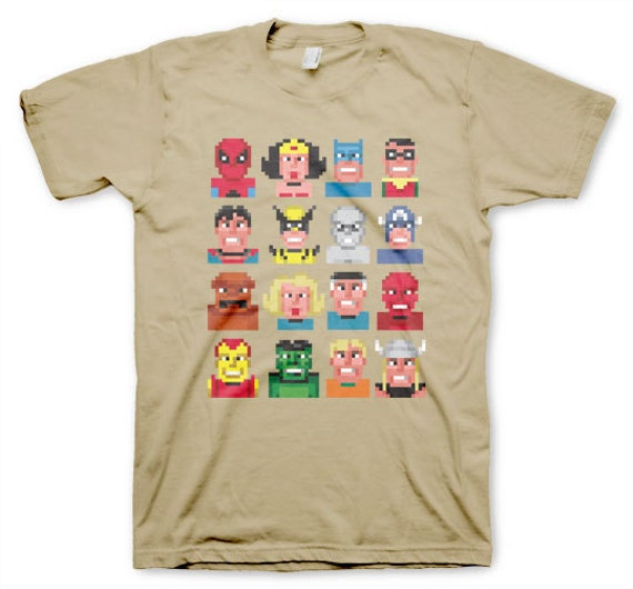 Superpixels Men's Cool Superhero Lowbrow Funny Geeky Sand Colored T-shirt in S, M, L, XL