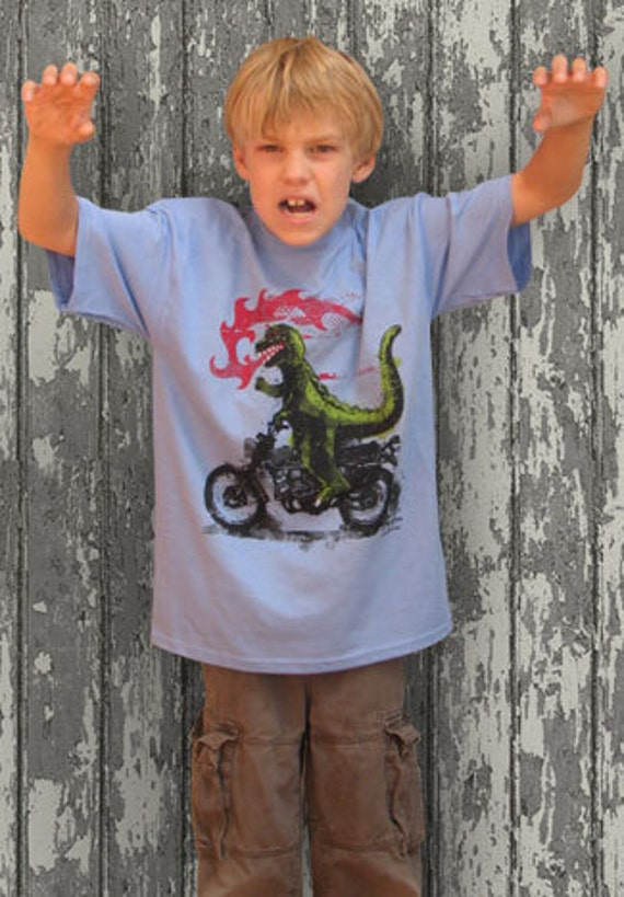 Godzilla Motorcycle Children's funny crazy vintage inspired retro monster blue t-shirt in s, m, l, xl