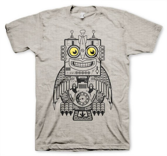 Robot Owl Men's Funny Heather Gray T-shirt in S, M, L, XL