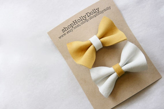 Yellow and White Leather Bow Hair Clips