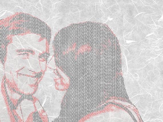 Custom Lyrics Wedding Vows Song Lyrics Text Art on Textured Paper 8.5x11