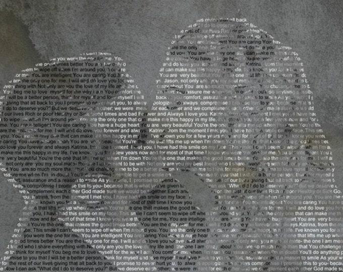Custom Canvas Wedding or Anniversary Text Photo Gift 20x24