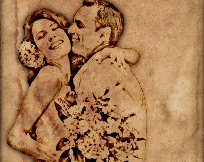 Custom Canvas Vintage Illustration Wedding Anniversary or Engagement Gift on Canvas 20x24