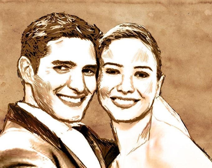 Custom Photo Gift Wedding Anniversary or Engagement Pencil Drawing 16x20