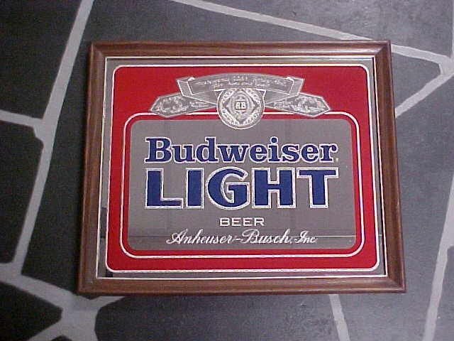1982 Budweiser Light Beer Bar Mirror