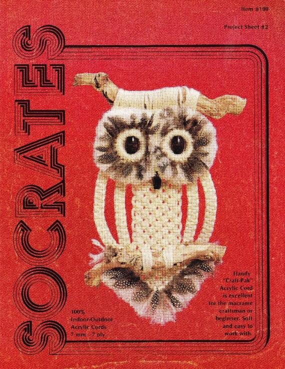 Vintage Socrates Macrame Owl Wall Hanging Pattern