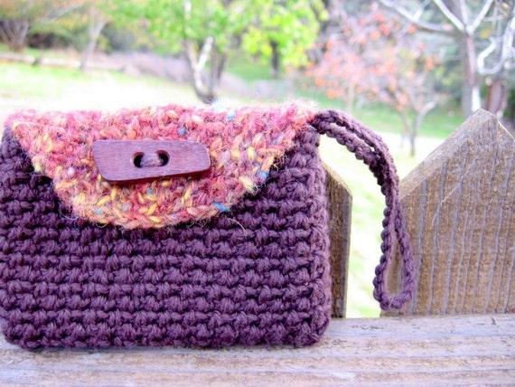 Warm Autumn Crochet Wristlet Clutch / Handmade Yarn Pouch