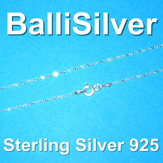 16.5 inch 42cm Sterling Silver 925 Fine Twisted SINGAPORE Chain Necklace - Genuine Italian Silver - Free Shipping Worldwide