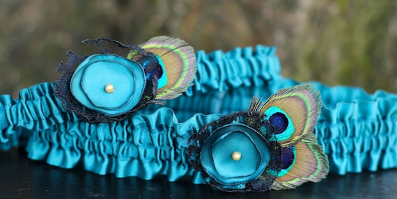Sexy Teal and Peacock feather Wedding Garter Set