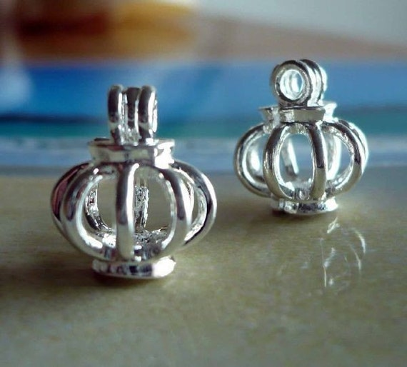 Small Crown Locket Lantern Cage Locket 2 Count for Seaglass or Beads