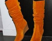 REDUCED Salvatore Ferragamo caramel suede wedge boots 7.5