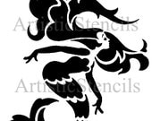 STENCIL Art Deco Mermaid  10x9