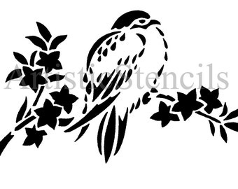 STENCIL Chickadee on Branch  10x6.3