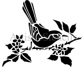 STENCIL Bird on Branch with Leaves 10x8.4