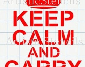 STENCIL Keep Calm and Carry On with Royal Crown 10x6.5