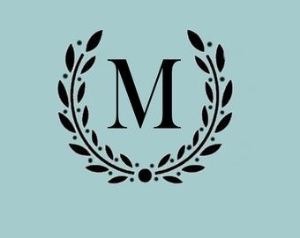 STENCIL Custom Your Initial Monogram Wreath - Various sizes